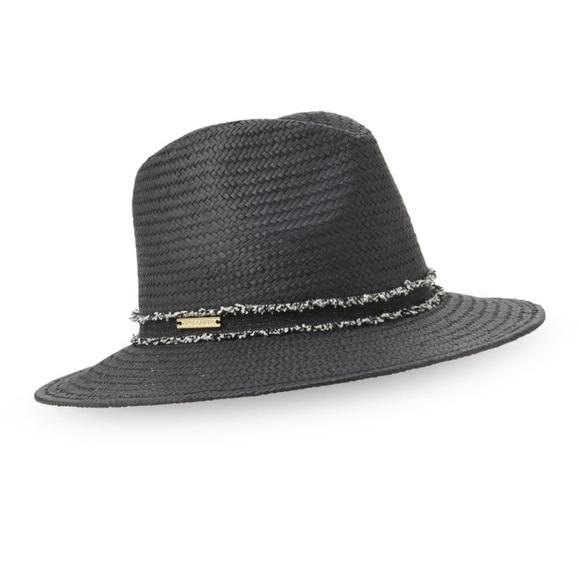 NWOT Vince Camuto Frayed Band Black Panama Hat 2b1e2a84e88f